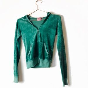 EUC Juicy Couture Green Velour Hoodie XS/P